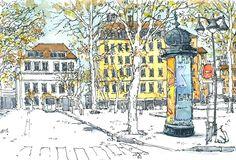 Colonne Morris place Croix-Rousse, Lyon, France by Bruno Molliere