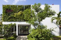 The Thao Dien House by MM++ Architects in Ho Chi Minh, Vietnam is a contemporary villa with a Mediterranean exterior. Houses Architecture, Green Architecture, Landscape Architecture, Architecture Design, Ancient Architecture, Sustainable Architecture, Vertical Garden Wall, Vertical Gardens, Design Exterior