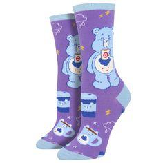 760f6d02d91 Purple Leopard Boutique - Women s Crew Socks Care Bears More Coffee Less  Grumpy Purple