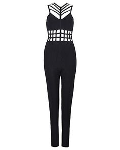 32786c729e UONBOX Womens Sexy Hollow out One Piece Clubwear Bodycon Jumpsuits Rompers  Black M  gt  gt
