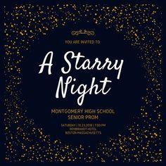 Golden Starry Night Prom Invitation