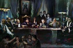 Buy Buyartforless Gangster Last Supper by Ylli Haruni Art Print Poster Godfather Scarface Sopranos Goodfellas Al Pacino, The Last Supper Movie, Estilo Cholo, Gangster Movies, Mafia Gangster, Real Gangster, Poster Drawing, Poster Prints, Art Prints
