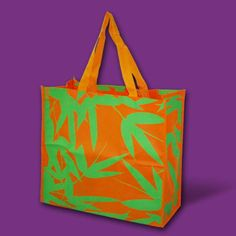 Orange Bamboo Shopper, eco-bag made of nonwoven material, ideal for carrying bulky purchases like toys and grocery items. Art by Robert Montelibano for Gifthaven. See www.gifthaven.com.ph