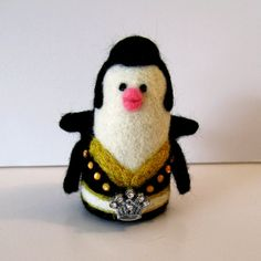 And the king is back!!!! needle felted penguin doll Elvis Presley look a like.
