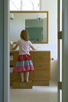 I like this bathroom for it's creativity. Perfect for kids and adults alike.   Searl Lamaster Howe Architects