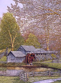 countryscape ~ Mabry Mill 2 by Thelma Winter Cafe Pictures, Blue Ridge Parkway, Watercolor Artwork, Winter Art, Windmill, Country Life, Landscape Art, Food Art, Illustrations