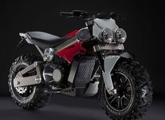 "The Brutus all-terrain motorcycle concept is the design work of Alessandro Tartarini, described as the ""SUV of motorcycles"". Images credit: Brutus The Brutus will also have a unique feature that allows you to take off its big tires Sidecar, Off Road Dirt Bikes, Lambretta, E Motor, Honda, Motorcycle Bike, Motorcycle Adventure, Motorcycle Design, Custom Bikes"