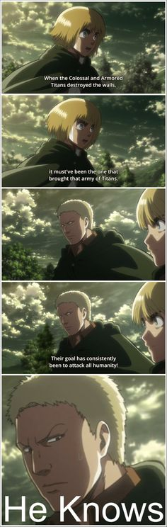 "Attack on Titan ~~ ""He knows."" :: Armin and Reiner"