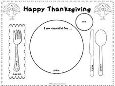 Thanksgiving Place Setting Placemat- great way to teach kids proper place setting. Color and laminate.