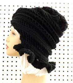 Black Crochet Hat Womens Hat Womens Crochet Hat Ruffle Crochet Beanie Hat Black Hat CYNTHIA Beanie Hat for Women Crochet Hat by strawberrycouture by #strawberrycouture on #Etsy