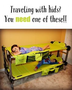 Ultimate Portable Bunk Beds For Kids Well this would be a handy thing for camping with kids or grandparents house with little ones.Well this would be a handy thing for camping with kids or grandparents house with little ones. Camping With Kids, Family Camping, Travel With Kids, Fun Travel, Toddler Camping Bed, Portable Toddler Bed, Toddler Travel Bed, Camping With A Baby, Baby Travel