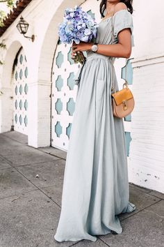 Maxi mint off the shoulder dress + Chloe Drew bag