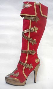 Red Gold Pirate Circus Gypsy Roman Warrior Soldier Costume Boots Womans 6 7 8 9 | eBay