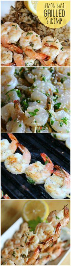 Lemon Basil Grilled Shrimp www.thenymelrosefamily.com #shrimp #grilling #kabobs