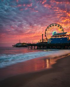 A Fiery Sunset over Santa Monica PierYou can find Santa monica and more on our website.A Fiery Sunset over Santa Monica Pier Beach Aesthetic, City Aesthetic, Travel Aesthetic, Santa Monica Beach, Santa Monica Boardwalk, Los Angeles Wallpaper, Places To Travel, Places To Visit, Travel Destinations