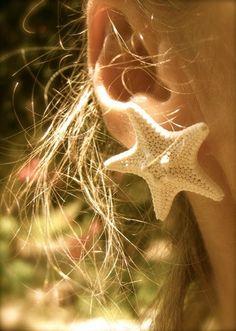 Natural Knobby Starfish Earrings-Beach Weddings, Starfish Accessories, Starfish Jewelry, Mermaids, Nautical Earrings. $16.00, via Etsy.
