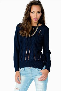 Open Cable Stitch Sweater
