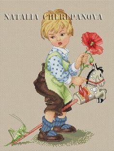 """Gallery.ru / """"Мальчик на лошадке"""" по рисунку Lungers Hausen - Платные схемы. - nata0179"""