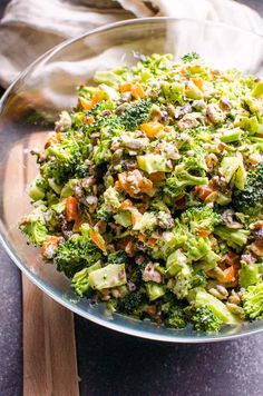 Healthy Broccoli Salad Recipe with raisins or cranberries, toasted nuts and seeds, and easy Greek yogurt dressing. No mayo or bacon cause heart healthy, easy and tasty broccoli salad is here.