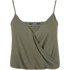 Miss Selfridge Petites Khaki Wrap Cami Top ($18) ❤ liked on Polyvore featuring tops, shirts, crop tops, tank tops, khaki, petite, cropped cami, green crop top, cut out shirt and green tank