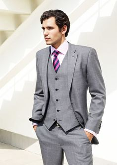 Need to still discuss w/ the fiance, but gray suits with navy ties (w/ purple accent) is a possibility.