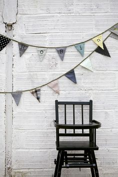 Naturals or prints bunting idea for behind students on black boards