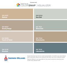 I found these colors with ColorSnap® Visualizer for iPhone by Sherwin-Williams: Quinoa (SW 9102), Smoky Beige (SW 9087), Touch of Sand (SW 9085), Stardew (SW 9138), Sea Salt (SW 6204), Silvermist (SW 7621), Outerbanks (SW 7534), Labradorite (SW 7619).