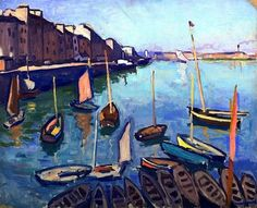 The Port, Le Havre, 1906 / Albert Marquet was a French painter… Henri Matisse, Rio Sena, Raoul Dufy, Georges Braque, Boat Painting, Le Havre, Post Impressionism, Oil Painting Reproductions, Art Moderne