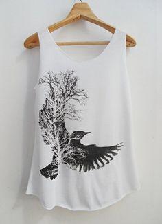 BIRD shirt lady shirt Tank Top White Shirt Tunic Top by kumajung, $12.00