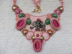 """ The Elephant Story"" Rhodocrosite, rose quartz, aventurine, freshwater pearls, shell beads. OOAK FFF"