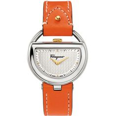 Ferragamo 37mm Buckle Watch w/ Diamonds & Leather Strap (7.794.545 IDR) ❤ liked on Polyvore featuring jewelry, watches, silver, buckle jewelry, logo watches, salvatore ferragamo watches, dial watches and orange jewelry