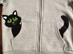 Kitty Cat in my Pocket Zip Up Hoodie/ Jacket/ Coat by oohlalajanie, $25.00