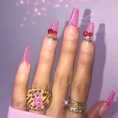 23 Ways to Wear Cherry Nails This – Sharing beauty The Effective Pictures We Offer You About vintage wedding nails for bride A quality picture can tell you many things. You can find the most beautiful Aycrlic Nails, Dope Nails, Pink Nails, Glitter Nails, Clear Gel Nails, Summer Acrylic Nails, Best Acrylic Nails, Summer Nails, Nail Swag