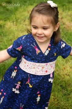 Oliver + S Library Dress, sewing pattern, size 3, Hello Petal fabric by Aneela Hoey