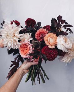 Today's bridal. Burgundy and peach floral inspiration. Fall Floral Arrangements, Floral Centerpieces, Floral Wedding, Wedding Flowers, Dahlia Wedding Bouquets, Dahlia Bouquet, Rose Pastel, Flower Aesthetic, Floral Photography