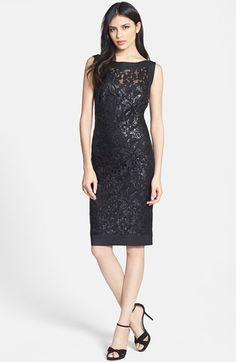 """NEW: Sparkling sequins form the lacy patterns on a lavish ebony sheath detailed with solid trim at the boat neck and hem.      40"""" length (size 8).     Back-zip closure.     Fully lined.     40% nylon, 30% cotton, 30% polyester.     Dry clean."""