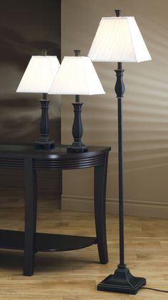 Table and Floor Lamp Set - Coaster Living Room Furniture. Cheap Table Lamps, Black Table Lamps, Black Floor Lamp, Table Lamp Sets, Black Lamps, Floor Lamps, Buy Lamps, Traditional Lamps, Coaster Fine Furniture