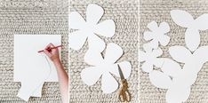DIY Giant Paper Flowers Tutorial - Maison de Pax This tutorial teaches you how to make stunning diy giant paper flowers: the perfect backdrop for a wedding, nursery, girl's room, or any elegant space. Paper Flower Patterns, Paper Flower Tutorial, Felt Patterns, Leaf Template, Flower Template, Owl Templates, Crown Template, Applique Templates, Applique Patterns