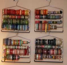 Pants hanger ribbon storage. Can go just above the space in the closet made for the wrapping paper rolls as seen earlier