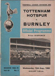 Vintage Football Programme - Tottenham Hotspur v Burnley, 1969/70 season, by DakotabooVintage, £1.99