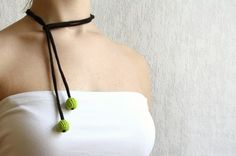 crochet green and brown 2 bead necklace - handmade wire and bead necklace