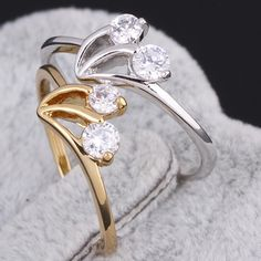 Full Sizes Fashion Cherry Shape Copper Ring  Inlay White Zircon Finger Jewelry Ring Two Colors