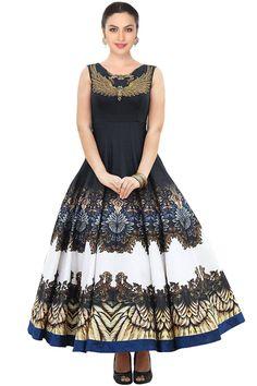 Digital printed black designer dress at Price of Rs 2400/- For orders WhatsApp @ +91-9311187463 website :www.suit-sarees.com