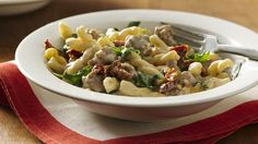 Dinner in 30? It's a snap with this skillet dinner trio of pasta, meat and veggie!