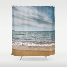 Buy Shower Curtains featuring You see right through me by xiari_photo. Made from 100% easy care polyester our designer shower curtains are printed in the USA and feature a 12 button-hole top for simple hanging. sea, sand, beach, ocean, photo, photography, landscape, nature, blue, calm, waves, white, clouds, cloud, sky, nikon, dslr, seascape, horizon line, line, straight, minimal, summer, season, spring, orange, gold, hot, warm, peace, peaceful, balance
