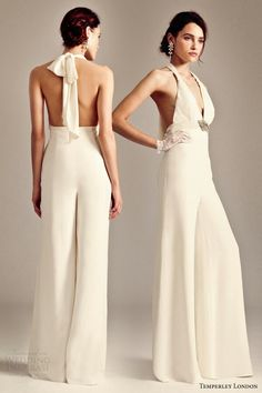 Bridal Fashion Trend: The Bridal Jumpsuit - Fashion - Tips Wedding Robe, Wedding Pantsuit, Wedding Suits, Wedding Attire, Wedding Reception Outfit, Wedding Dresses 2014, Wedding Dressses, Wedding Trends, 2015 Wedding Dresses