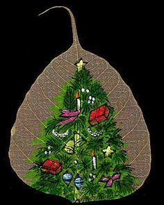 This gorgeous leaf art originated in a small town in India and is done on dry Peepal leaves. This artwork is one of the oldest forms of art, and only a few people around the world are left that create this form of art. Crafts To Do, Arts And Crafts, Diy Crafts, Dry Leaf Art, Christmas Art, Christmas Ornaments, Painted Leaves, Art Base, Art Forms