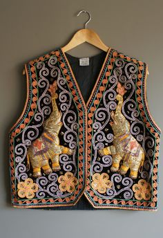 Elephant Thai Boho Sequin Embroidered Festival Vest One Size Fits All