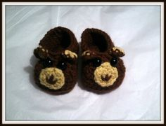 Handmade Smiley The Bear Baby Booties Handmade Crochet Newborn by HaldaneCreations on Etsy