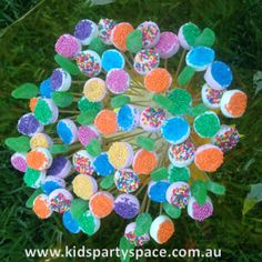 Fairy Mallows - Cut the Marshmallow in half and dip in sprinkles, very easy, very yum!  #kids party food ideas